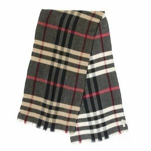 Burberry Reversible Color Check Fringe Plaid Scarf